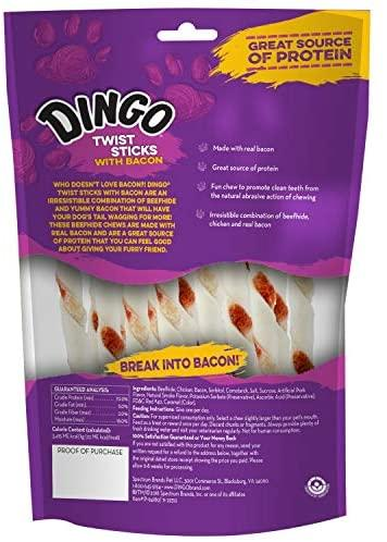 Dingo Dog Treats with Bacon, Rawhides for Dogs Wrapped with Real Chicken and Bacon, Dog Chew Treats