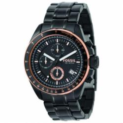 Fossil Men's  Black Stainless Steel Bracelet Black Analog Dial Chronograph Watch CH2619