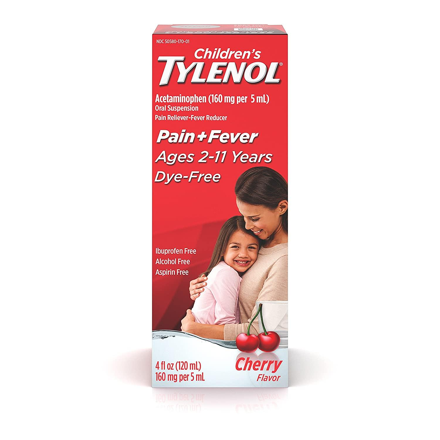 Children's Tylenol Oral Suspension Acetaminophen Medicine, Dye-Free Cherry, 4 fl. oz