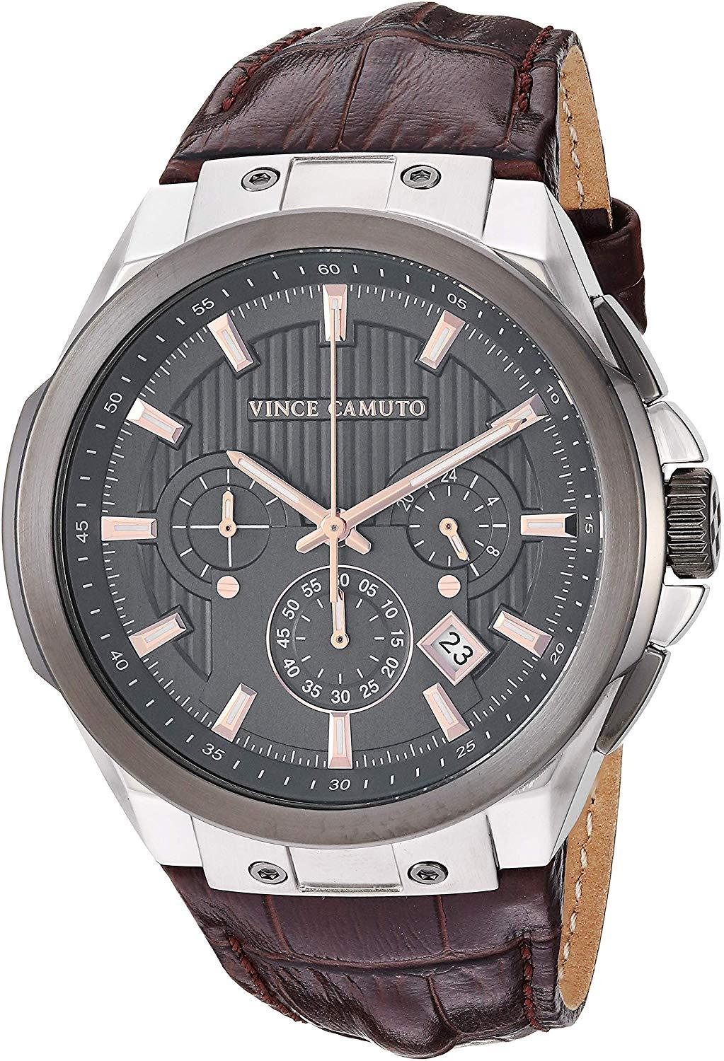 Men's VC/1111DGSG Multi-Function Silver-Tone and Brown Croco-Grain Leather Strap Watch