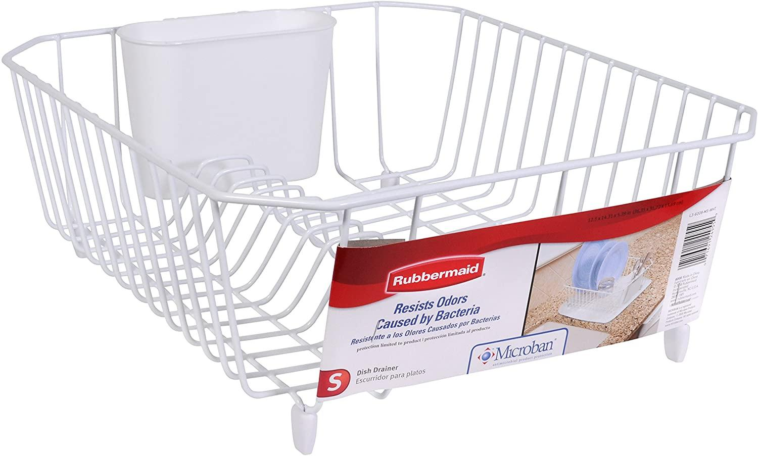 Rubbermaid Antimicrobial Dish Drainer, Small, White 1858900