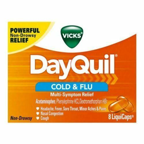 Vicks DayQuil Cold and Flu Multi-Symptom Relief, Daytime, Non-Drowsy, Sore Throat, Fever, and Congestion Relief, 8 LiquiCaps