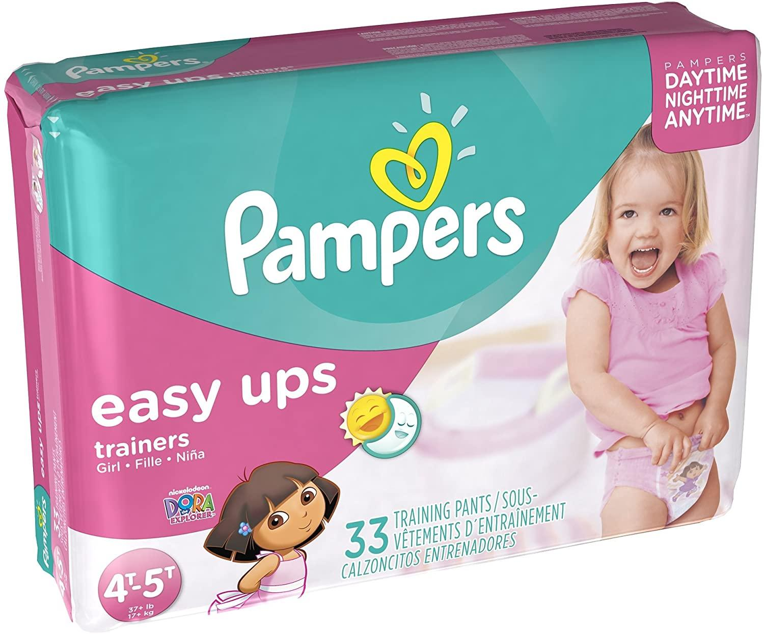 Pampers Easy Ups Girls Mega Pack, Size 6, 4T-5T, 33 Count