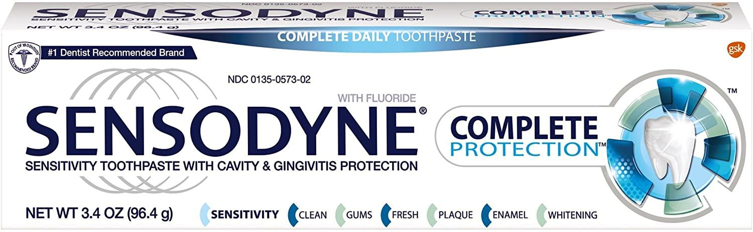 Sensodyne Complete Protection Sensitive Toothpaste For Gingivitis, Sensitive Teeth Treatment, 3.4 Ounces