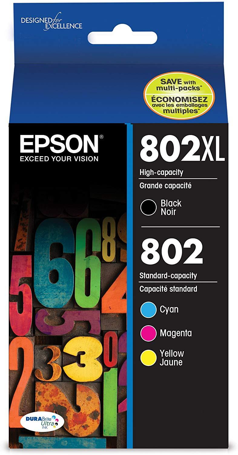 Epson T802XL-BCS DURABrite Ultra Black High Capacity and color Combo Pack Standard Capacity Cartridge Ink