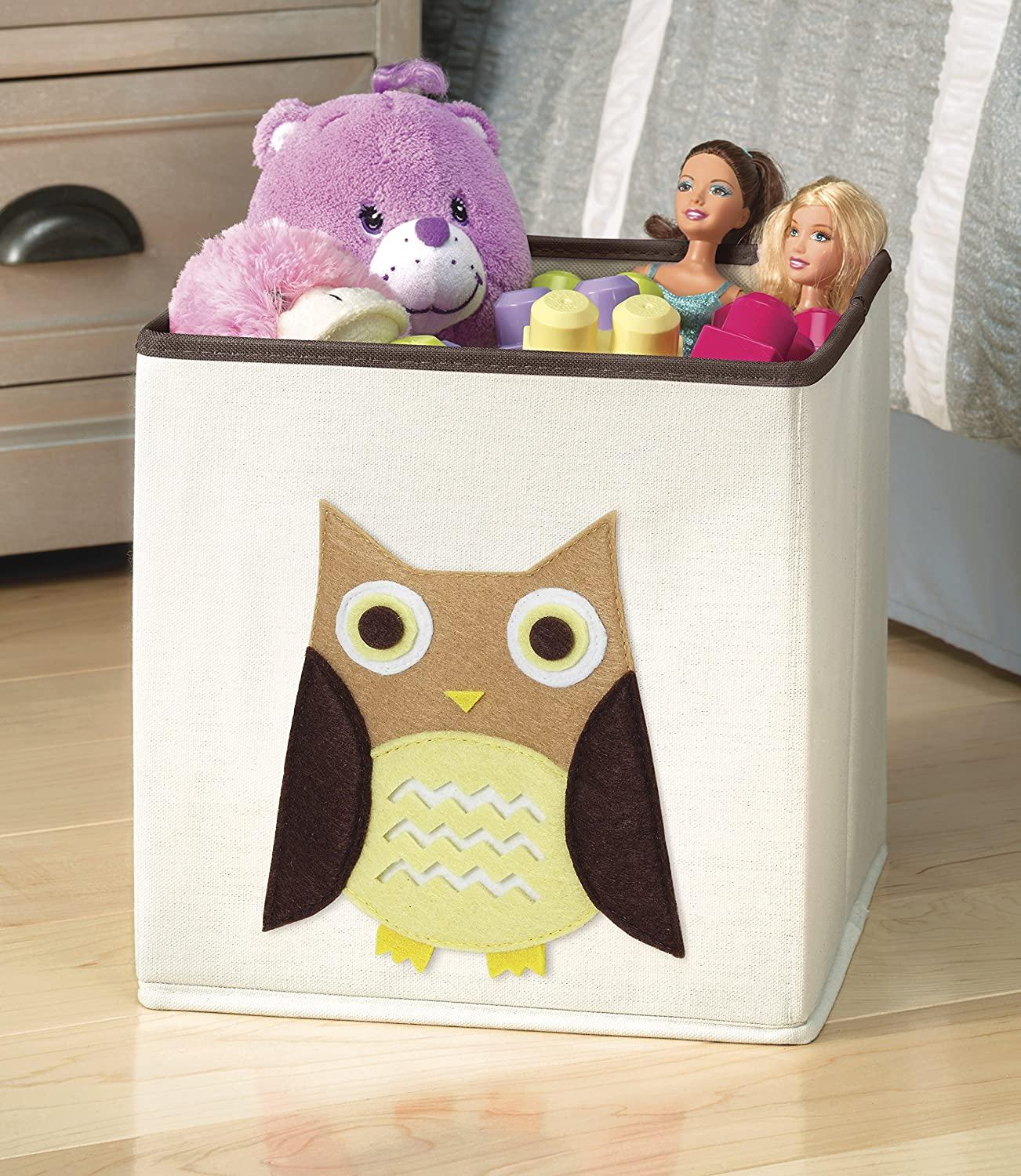 Whitmor Kids Canvas Collapsible Cube-Brown Owl