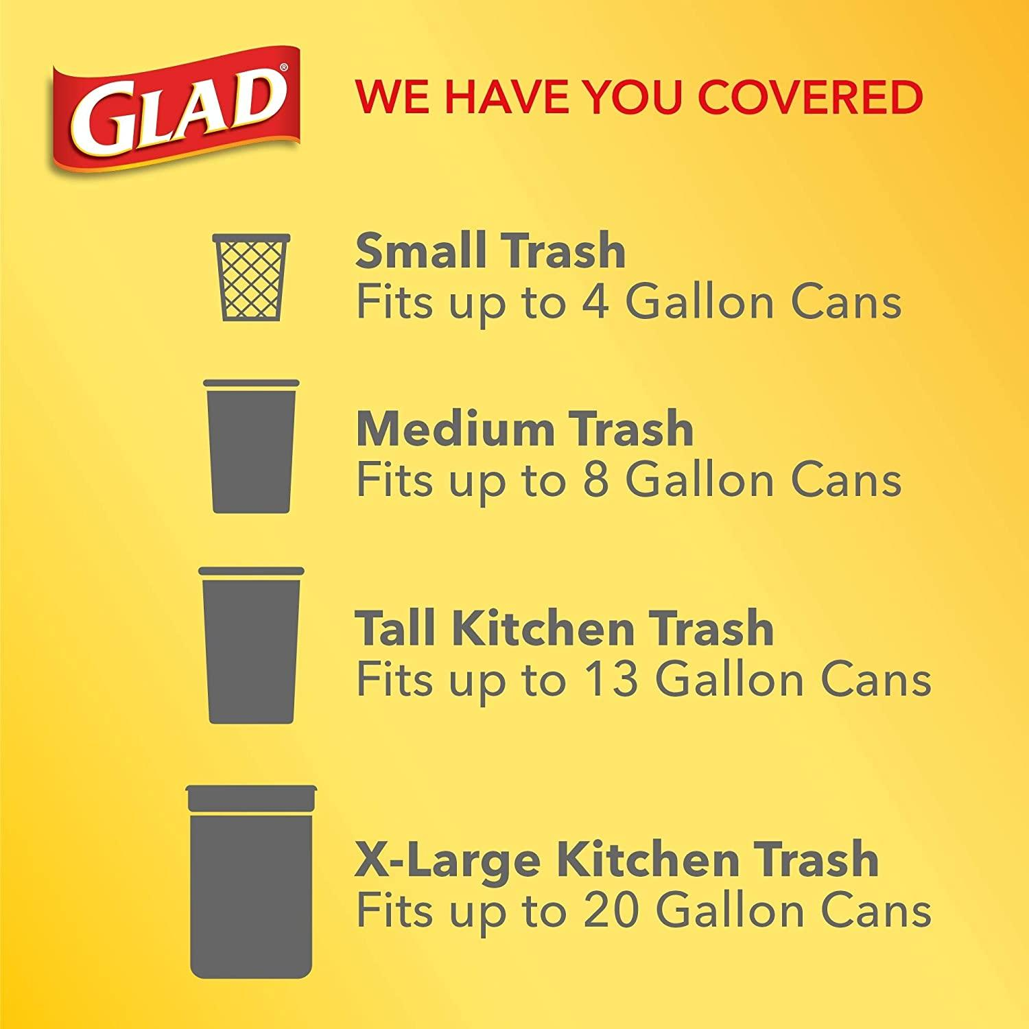 Glad ForceFlex Tall Kitchen Drawstring Trash Bags 13 Gallon Grey Trash Bag, Unscented OdorShield 40 Count (Package May Vary)
