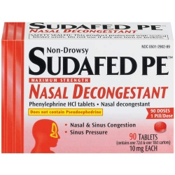 Sudafed Maximum Strength Non-Drowsy Tablets PE Nasal Decongestant, 24 Count