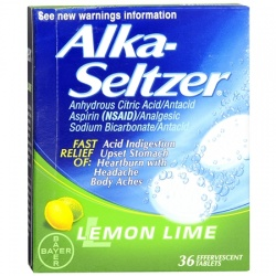 Alka-Seltzer Antacid/Analgesic Effervescent Tablets Lemon Lime - 36 Count