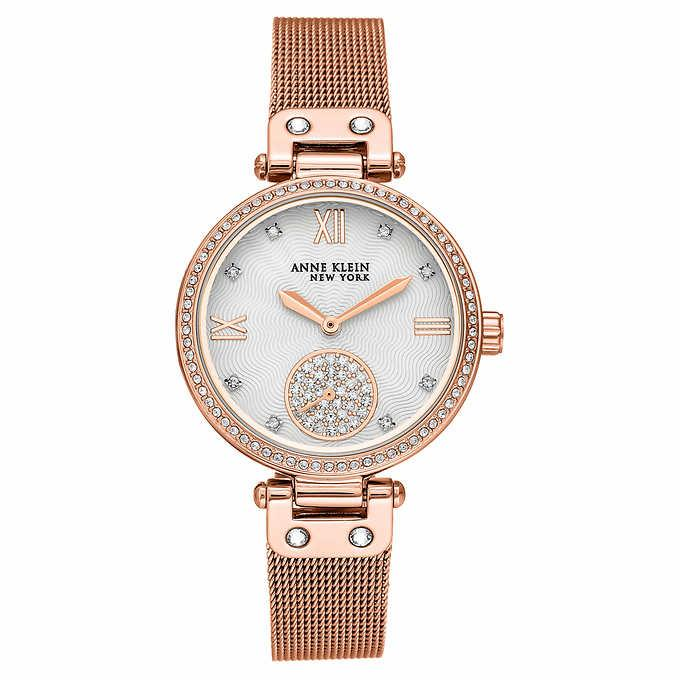 Anne Klein New York Rose Gold-tone Mesh Ladies Bracelet Watch with Swarovski Crystals