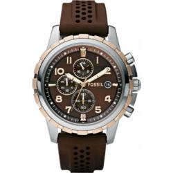 Fossil Dean Chronograph Silicone Brown Dial Mens Watch FS4612