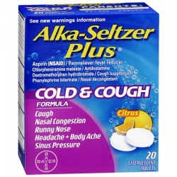 Alka-Seltzer Plus Cold & Cough Formula Tablets Citrus - 20 Count