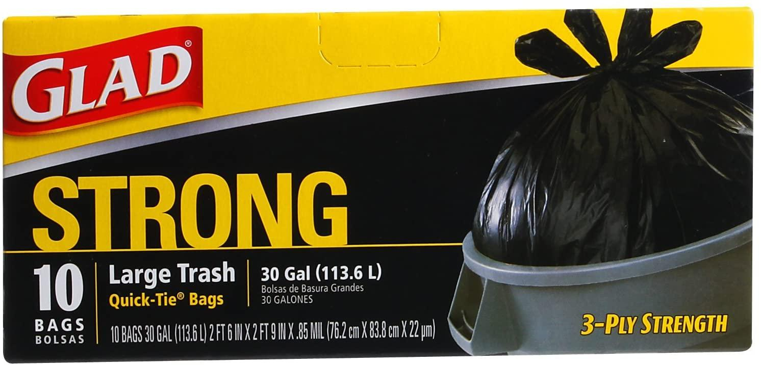 Glad 30 Gallon Quick Tie Large Trash Bags 10 count