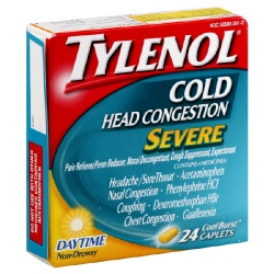 Tylenol Cold Head Congestion Severe Cool Burst Caplets Daytime 24 Count
