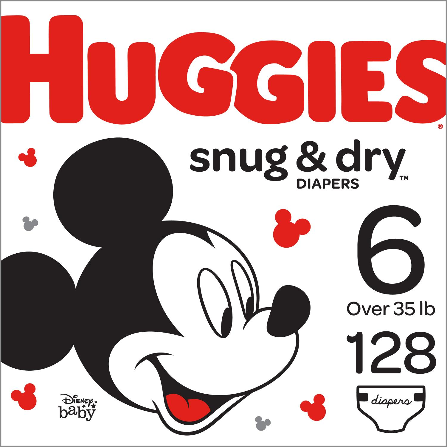 Hugggies Snug & Dry Diapers, Size 6, 128 Count