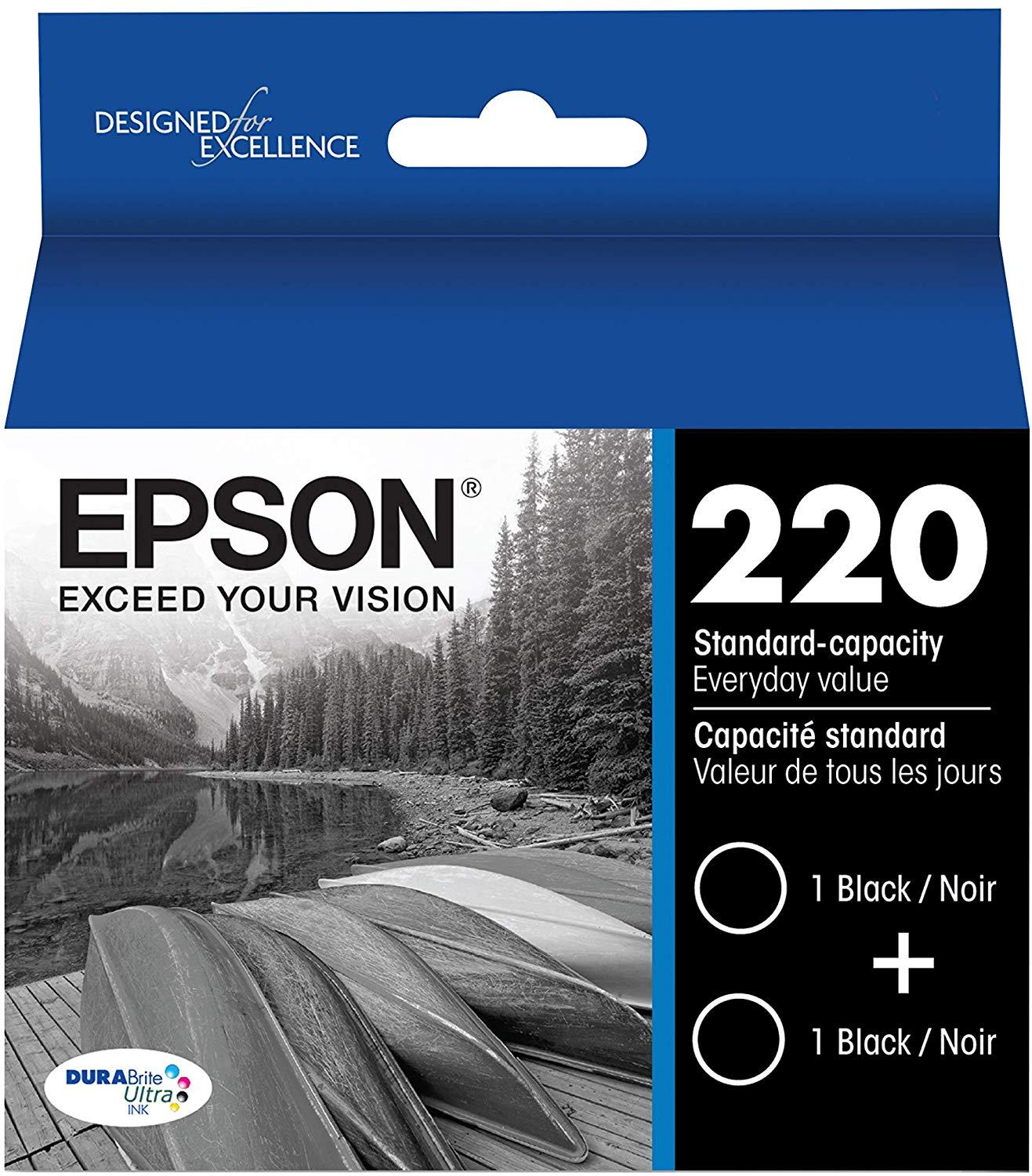 Epson T220120-D2 220 DURABrite Ultra Black Dual Pack Standard Capacity Cartridge Ink