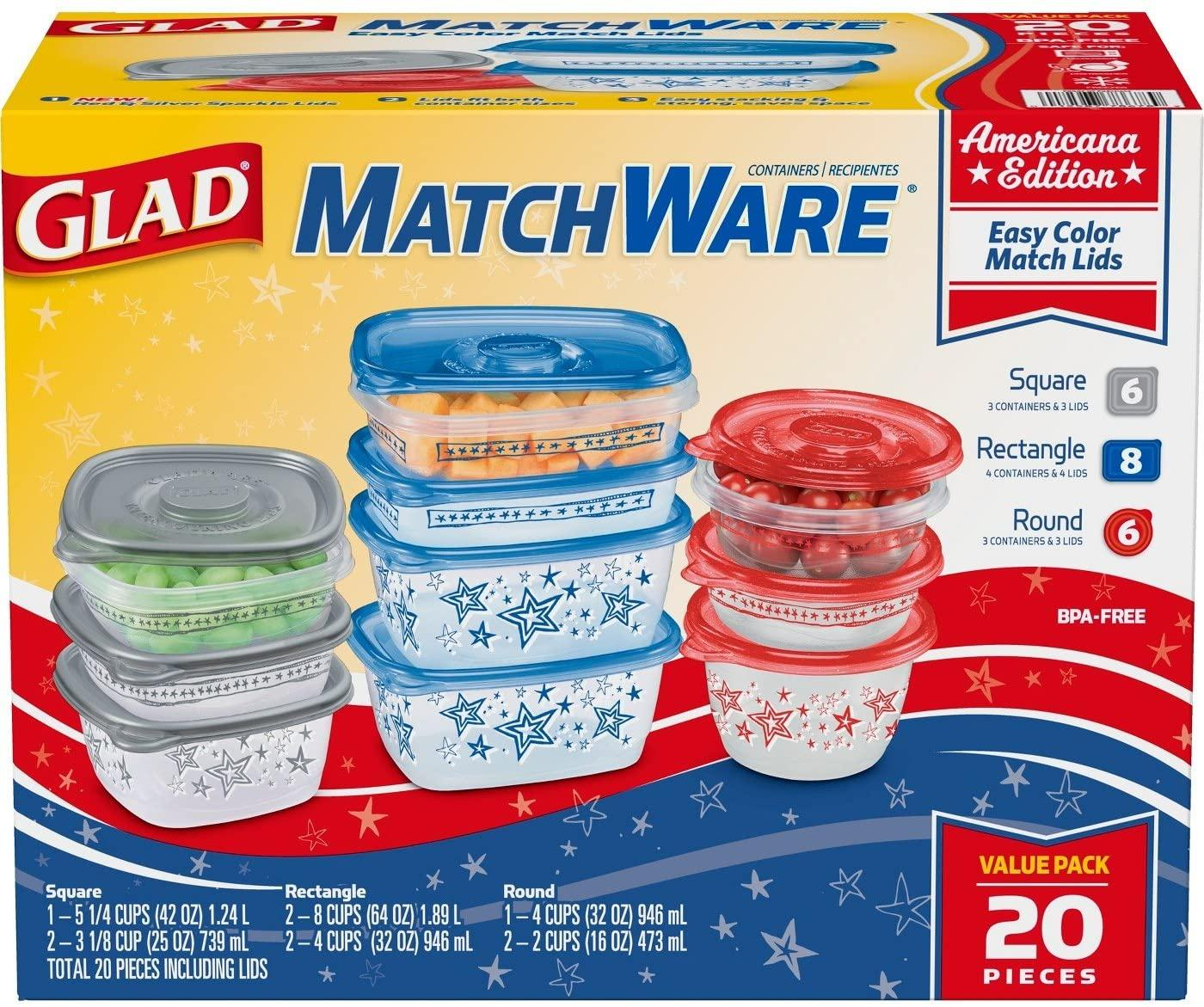 Glad Food Storage Containers, Glad Match Ware Variety Pack, 10 Containers, 20pc Set