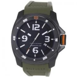 Tommy Hilfiger Men's 1790772 Sport Black Ionized Plated Case on Olive Silicon Strap Watch