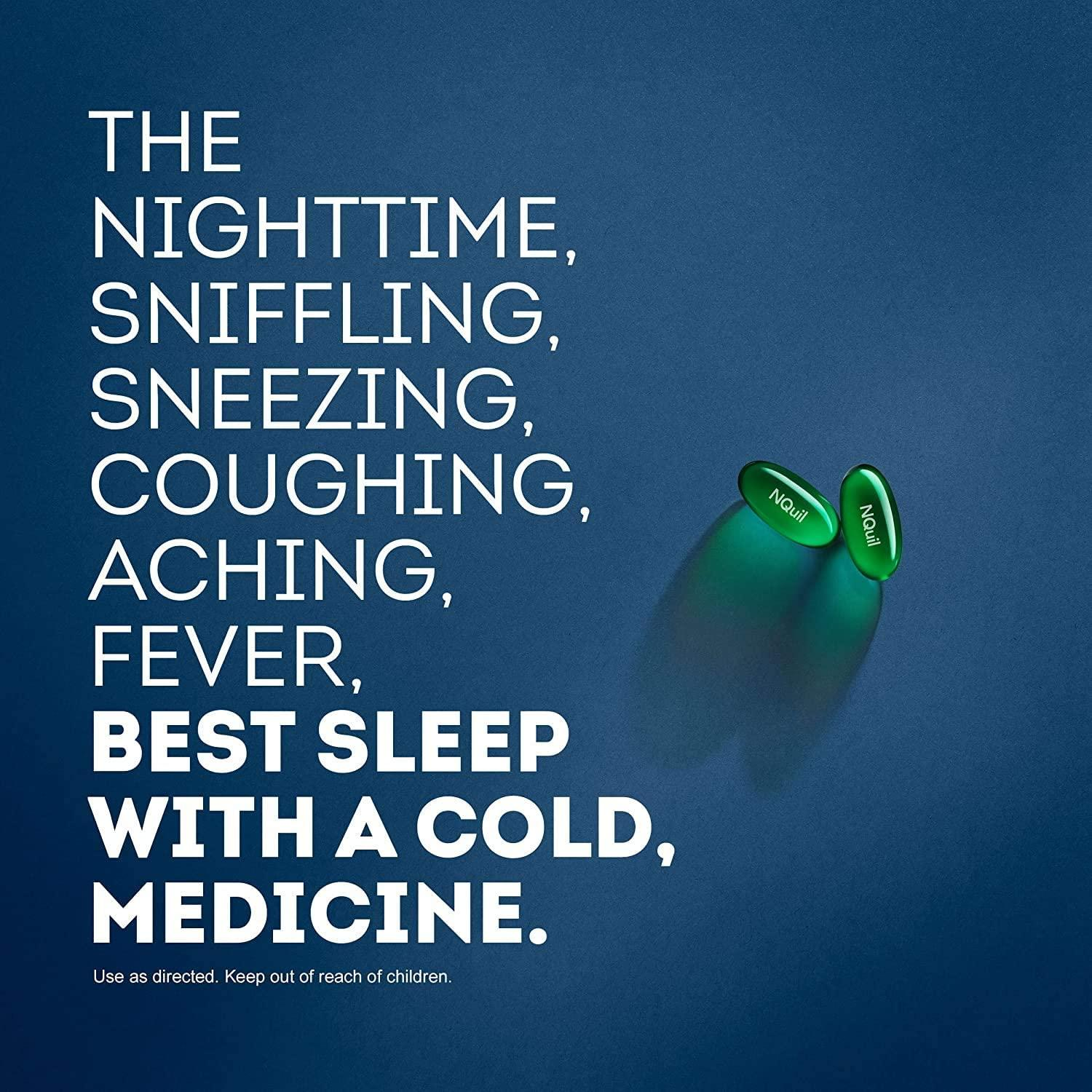 Vicks NyQuil Cold and Flu Multi-Symptom Relief, Nighttime, Sore Throat, Fever, and Congestion Relief, 8 LiquiCaps