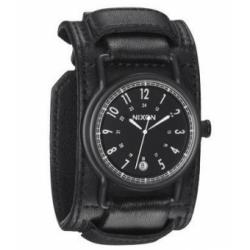 Nixon Axe All Black Cuff Leather Mens Watch A322-001