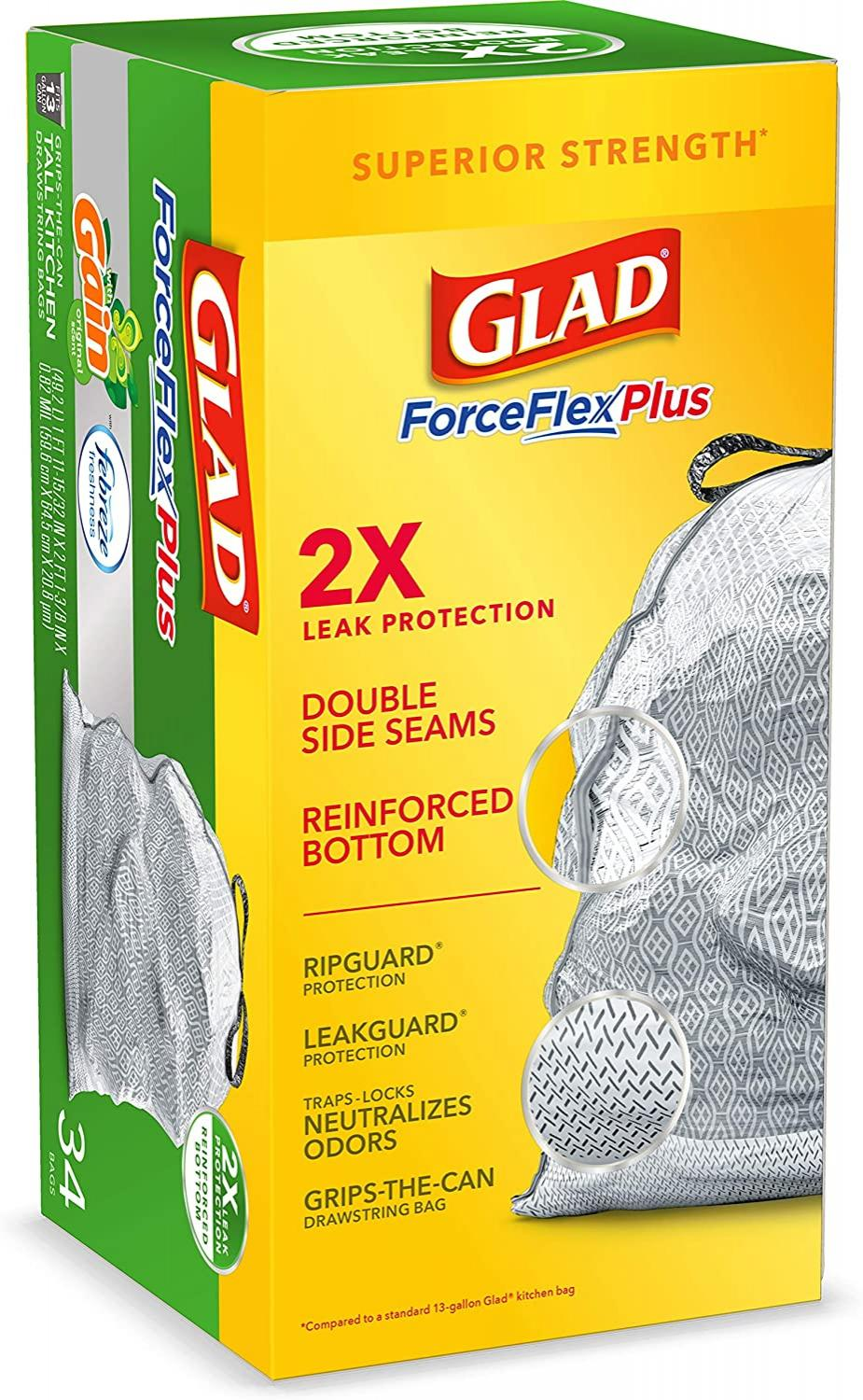 Glad ForceFlexPlus Tall Kitchen Drawstring Trash Bags, 13 Gallon Grey Trash Bag, Gain Original with Febreze Freshness 34 Count (Package May Vary)