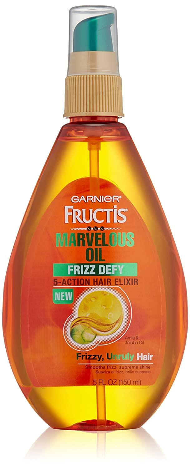 Garnier Skin and Hair Care Fructis Marvelous Oil Frizz Defy 5 Action Hair Elixir for Unruly Hair, 5 Fluid Ounce