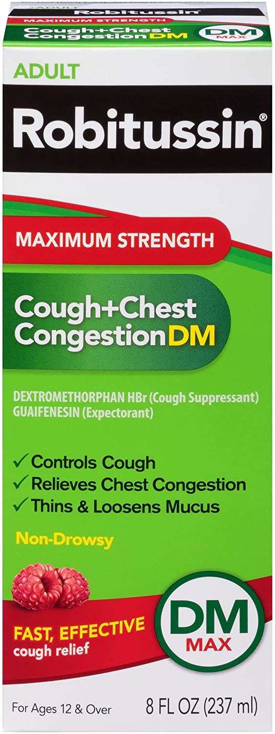 Robitussin Maximum Strength Cough and Chest Congestion DM Non-Drowsy Liquid Box, 8 Fluid Ounce