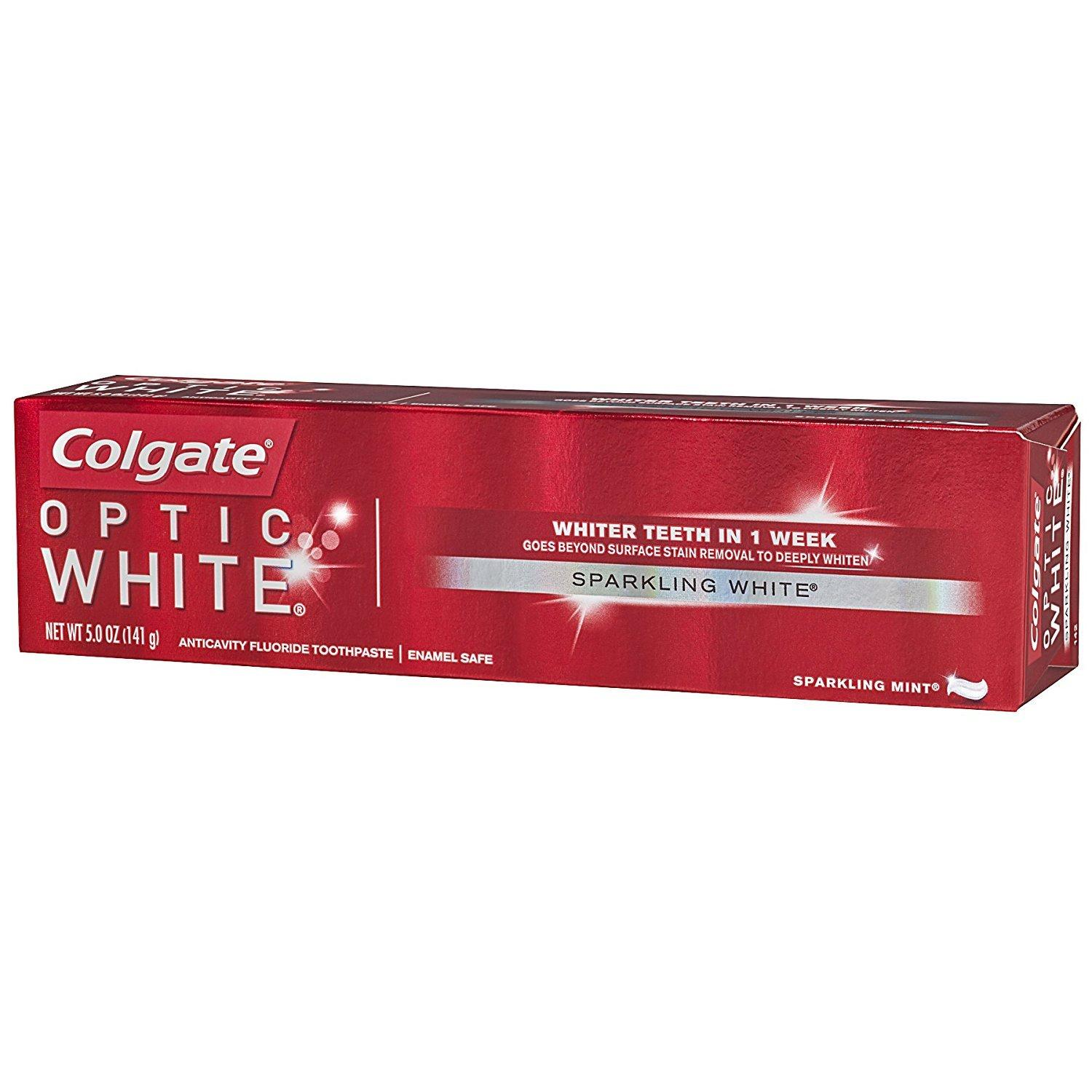 Colgate Optic White Whitening Toothpaste, Sparkling White, 5 oz