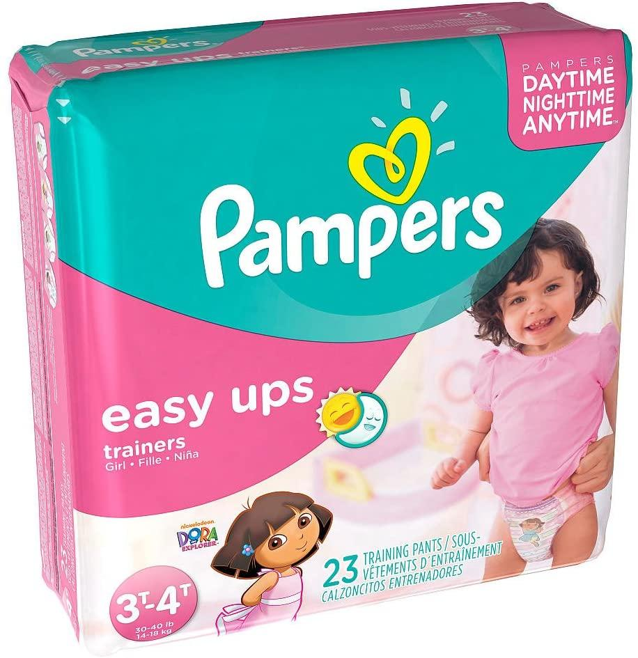 Pampers Easy-Ups Diapers for Girls Jumbo Pack, Size 3T-4T, 23 Count