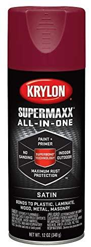 Krylon K08976000 SUPERMAXX Spray Paint, Satin Burgundy, 12 Ounce