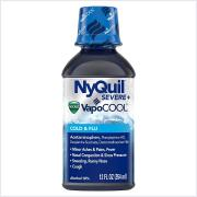 Vicks NyQuil Severe with VapoCool Nighttime Cough, Cold and Flu Relief Liquid, 12 FL OZ