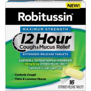 Robitussin Maximum Strength 12 Hour Cough & Mucus Relief Extended-Release, Controls Cough, Thins & Loosens Mucus, Alcohol Free, 16 Tablets