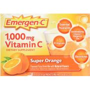 Emergen-C Vitamin C Fizzy Drink Mix Super Orange, 1000 mg, 30 Packets