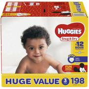Huggies Snug & Dry Diapers, Size 3, 198 Count