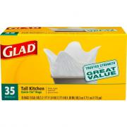 Glad Quick Tie Tall Kitchen Bags White 35 Count