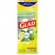 Glad Small Drawstring Trash Bags, 4 Gallon White Trash Bag, Febreze Sweet Citron & Lime, 34 Count