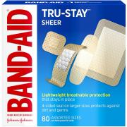 Band-Aid Brand Tru-Stay Sheer Strips Adhesive Bandages for First Aid and Wound Care, All One Size, 80 ct